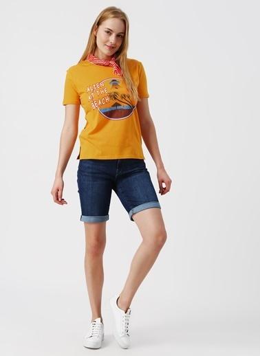 Koton Koton Bisiklet Yaka Sarı T-Shirt Oranj
